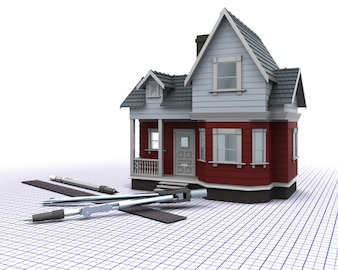 3d render of a timber house with drawing instruments
