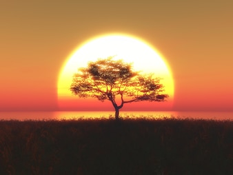 3d render of a tree against a sunset sky