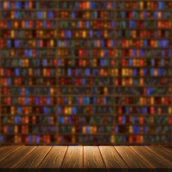 3d render of a wooden table looking out to a blurred background with bookcase