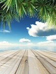 3d render of a wooden table looking out to tropical ocean