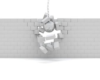 3d render of a wrecking ball demolishing a wall