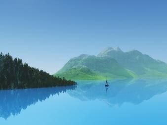 3d render of a yacht in still blue water against a tree and hill landscape