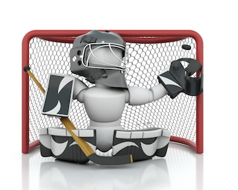 3d render of an ice hockey netminder