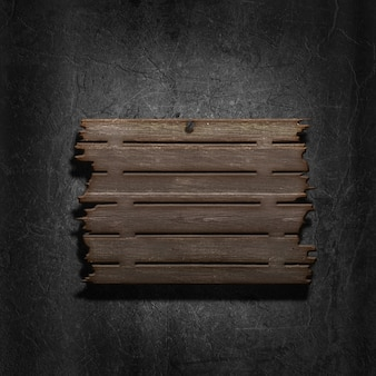 3d render of an old wooden sign on a metal background