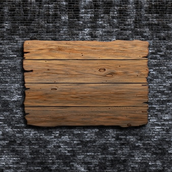 3d render of an old wooden sign