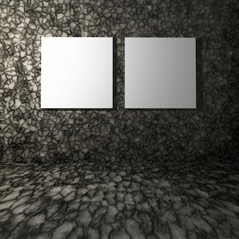 3d render of blank canvases in a stone room interior