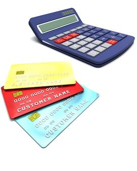 電卓を使った一般的なクレジットカードの3Dレンダリング