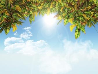 3d render of leaves on a blue sky background