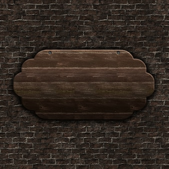 3d render of old wooden sign on brick wall
