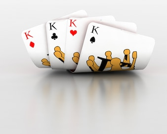3d render of playing cards of four kings