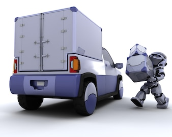 3d render of robot loading boxes into the back of a truck