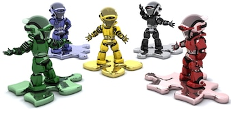 3d render of robots on jigsaw pieces solving problems