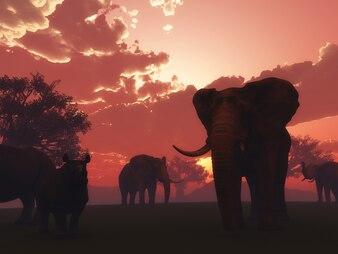 3d render of wild animals in a sunset landscape