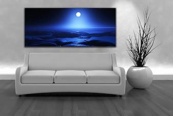 壁にソファと月明かりの風景キャンバスのレンダリング3dは