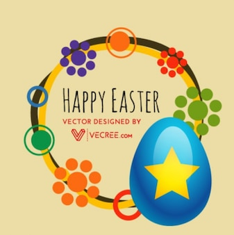 3d starred easter egg and abstract decorations
