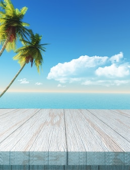 3D table looking out to a palm tree and sea landscape