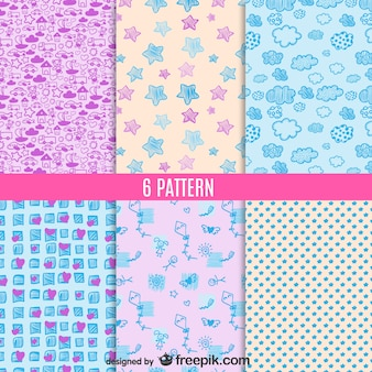 6 vector patterns doodle style