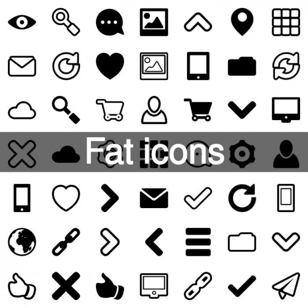 60 Fat design icons