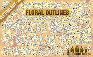 Free Vector Floral Outlines Silhouettes