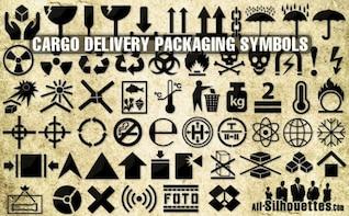 Cargo delivery vector packaging symbols