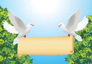 Cartoon peace dove and roll