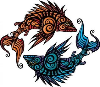 Pisces heraldic vector material