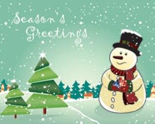Snowman with Christmas Tree Seasons Greeting Card