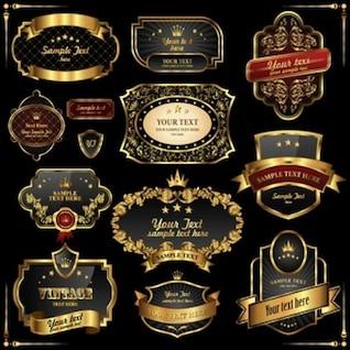 Black-Gold Retro Frames Labels2