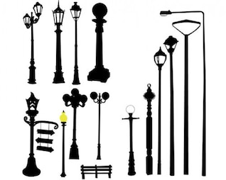 Stock vector lamppost street road light pole
