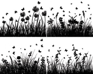 grass silhouettes with butterflies and flowers