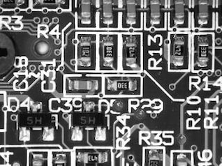 Magnified View of a Motherboard