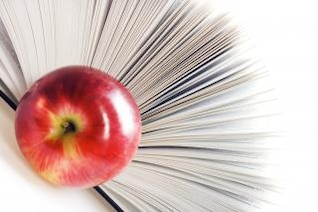 book and apple  paper