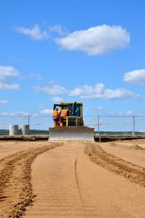 bulldozer and blue sky