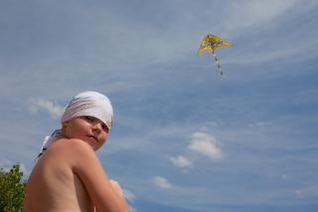 boy plays kite  recreation