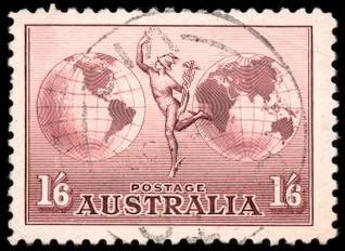 brown airmail stamp