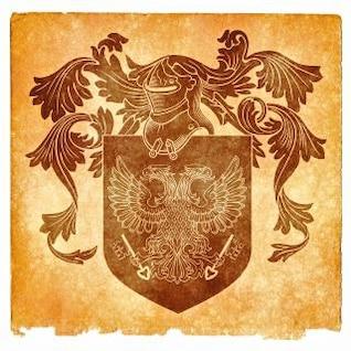 double headed eagle grunge emblem  sepia