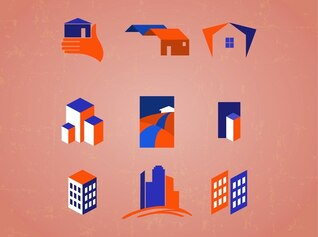 Real estate building construction icons