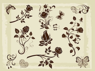 Nature blossoms element vector pack