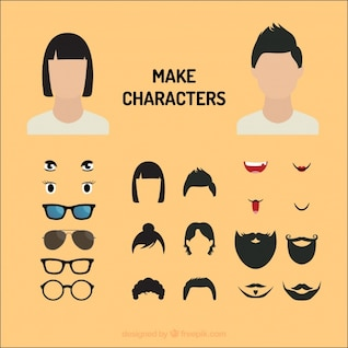 comic characters Eyes and mouths vector