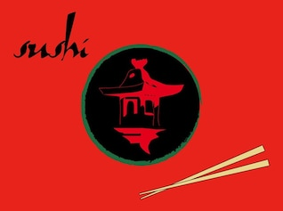 asian Sushi restaurant designs vector