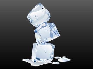 Shiny melting ice water drops