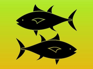 Fish silhouettes pisces vector