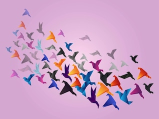Colorful flock of birds