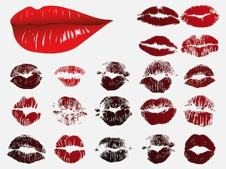 flirting lipsticked lips in vector pack