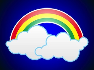 Rainbow of three color in the clouds