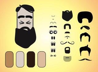 cartoon beard Character facial features vector