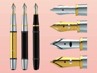 Set of gold and silver pens