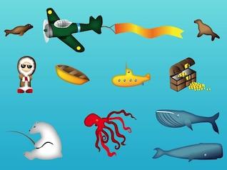 treasure chest ocean animals vector