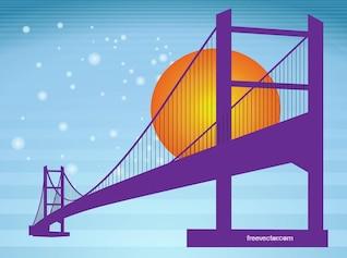 Romantic bridge silhouette landmark vector