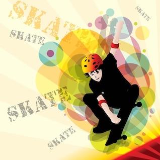 Boy with skateboard vector
